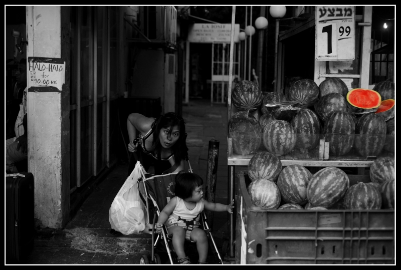 woman with child, with watermelons; black and white