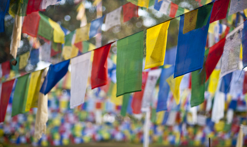 prayer flags; birthplace of the buddha