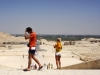 rebuilt ancient egyptian ruins; view of the greenery of luxor amidst the desert; tourists